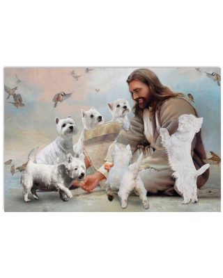 God surrounded by Westie angels Gift for you Horizontal Poster