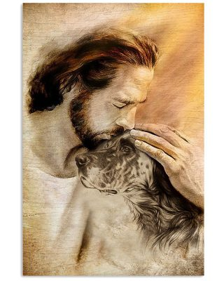 Jesus with lovely English setter for dog lover Vertical Poster
