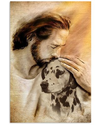 Jesus with lovely Dalmatian for Dalmatian lover Vertical Poster