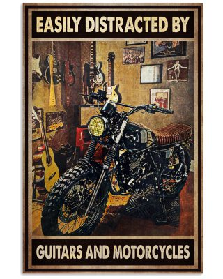 Easily distracted by guitars and motorcycles Vertical Poster