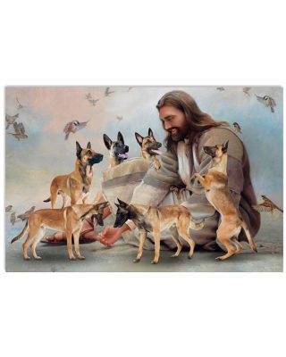 God surrounded by Malinois angels Gift for you Horizontal Poster