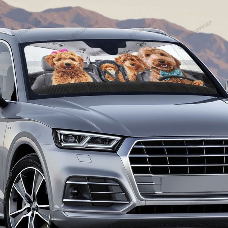 Goldendoodle Family Driving Car Sunshade