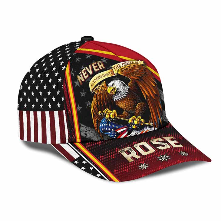 American Flag Eagle Underestimate The Power Of A Rose Cap Hat