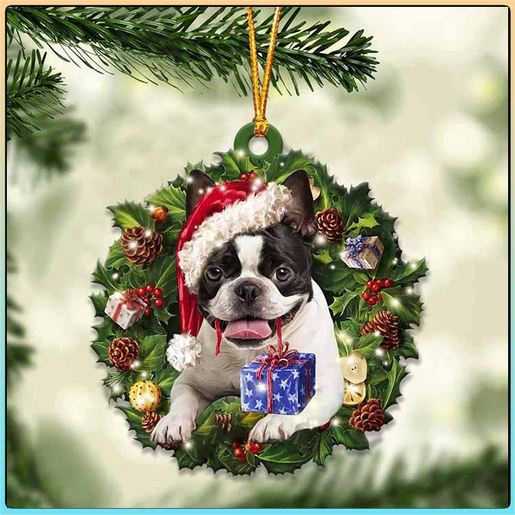 Christmas Gift And Boston Terrier Ornament