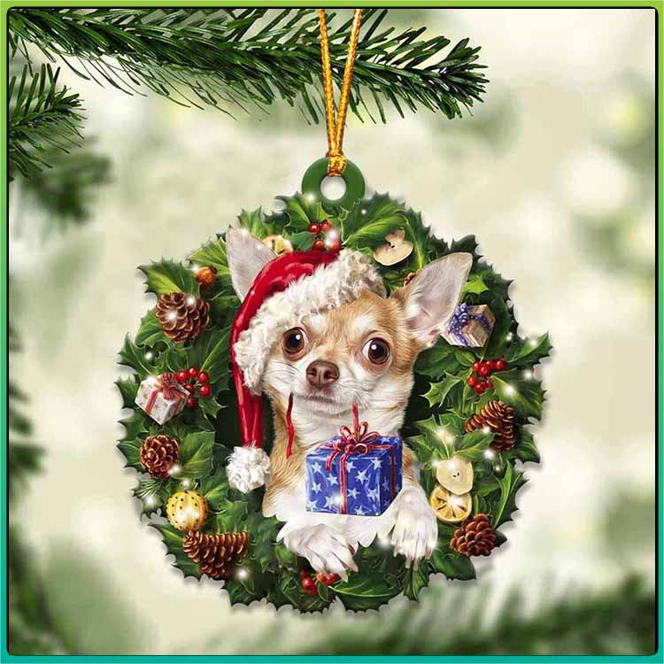 Christmas Gift And Chihuahua Ornament