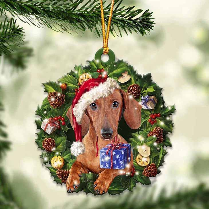 Christmas Gift And Red Dachshund Ornament