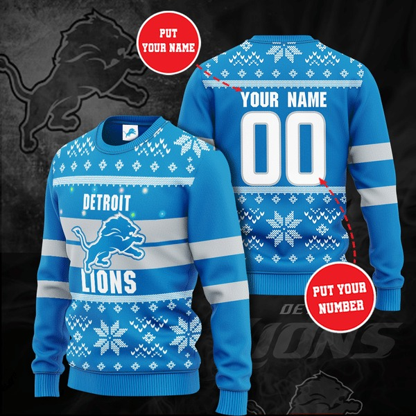 Detroit Lions custom personalized ugly Christmas sweater