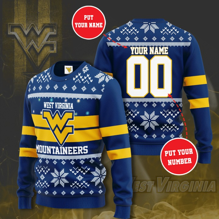West Virginia Mountaineers custom personalized ugly Christmas sweater