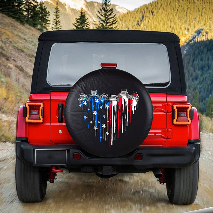 Jeep Heart US American Flag Spare Tire Cover