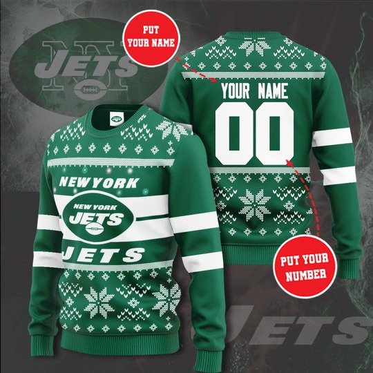New York Jets Personalized Christmas Sweater
