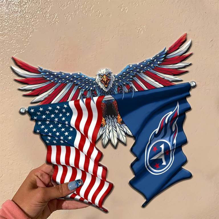 Tennessee Titans Eagle American flag Metal Sign